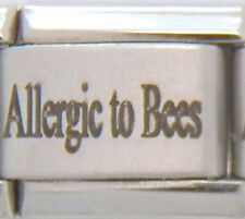 Allergic to Bees Laser Medical Alert for Italian Charm Bracelets Free ID Card