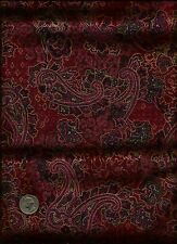 Floral Paisley Print gold inlay olive rose tan on maroon/wine Fabric by Kaufman
