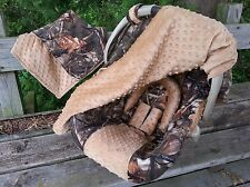 3 Piece Set - Camo Infant Car Seat Cover, Canopy Cover, Blanket, Max4 and Tan