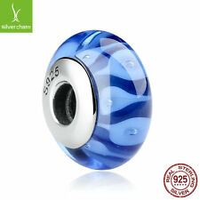"Blue Murano Thread Glass Beads Charms, 925 Sterling Silver for Women with ""S925"""