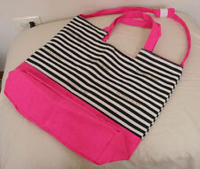 Victoria's Secret Pink With Black & White Stripe Tote Beach Getaway Bag NWOT
