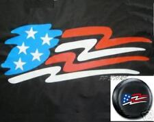 SPARE TIRE COVER 29.1''-31.7'' with American Flag on montero black df86922p