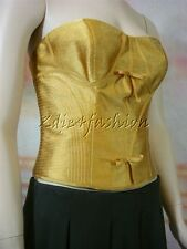 $1890 New with Tag CAROLINA HERRERA Gold Strapless Bow Bustier Corset Top 6