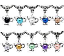 10 Mixed Teapot Dangle Beads Fit Charm Bracelet 32x21mm