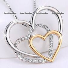 Rose Gold & Silver Crystal Heart Necklace Xmas Gifts For Her Best Friends Women