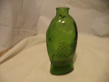 "Vintage 7.5"" Wheaton Green Glass Bottle Fish Dr. Fisch's Bitters Millville NJ"