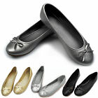New Ladies Women Bow Dolly Flat Shoes Ballerina Ballet Work Pumps Flats Slippers