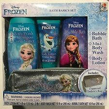 New Disney Frozen Bath Basics Set Body Wash Lotion Bubble Zippered Toiletry Bag