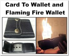 SIGNED PLAYING CARD TO FIRE FLAME BLACK WALLET PRO AIO 2IN1 TRICK MAGIC TO CLEAR