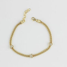 """Womens 925 Sterling Silver CZ Micropave Gold Plated Bracelet Chain Italy Made 7"""""""