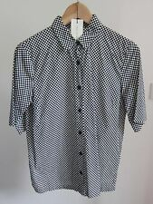 Dries Van Noten Donne Nero / Bianco Stampa A Quadri Camicia in Cotone Breve UK10 / 38