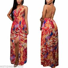 Women's Summer Chiffon V Neck Backless Split Boho Beach Party Dress maxi UK 6