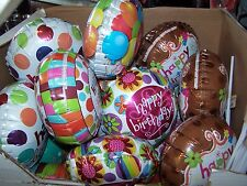 """Lot of 25 Air Filled 9"""" Balloons Assorted Happy Birthday With Sticks"""
