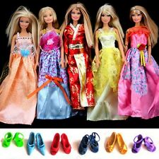 Lot 6 Pairs Shoes & 5 Barbie Dresses Clothes gown for dolls Japanese kimono B08