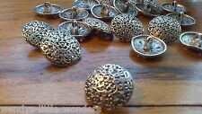 Job Lot 30 Tibetan Silver Round Shank Buttons 17mm Filagree More Available 1