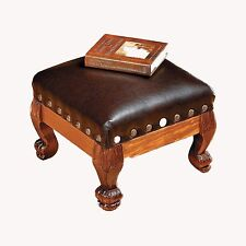 Foot Stool Fine Brown Wood Faux Leather Nailhead Trim Elegant Ottoman Furniture