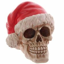 Santa Claus Skull With Gothic Christmas Hat Resin Ornament 15.5cm