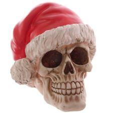 Babbo NATALE Gotico Teschio con Cappello di Natale Ornamento in resina 15.5cm