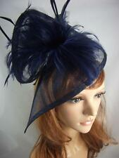 Navy Dark Blue Sinamay & Feathers Twist Fascinator - Hat Occasion Wedding Races