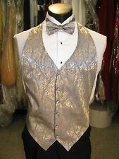 Mens Formal Vest Silver Lame Matching Bow Tie Included Size Medium