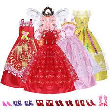 Set 5 Abiti da Sera Festa Costume+10 Paia Scarpe Accessori per Barbie Giocattolo