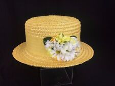 GAP Childs Little Girls Yellow Woven Straw Child Girl Hat Easter Bonnet Floral