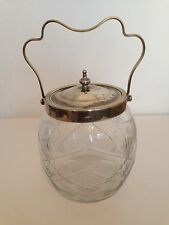 Vintage Cut Glass Biscuit Cookie Jar Barrel pot with Silver Plate Handled Lid