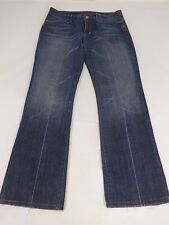 SEVEN FOR ALL MANKIND WOMENS DARK WASH JEANS LOW RISE BOOT CUT SIZE 30