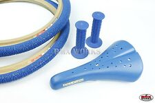 BMX Package - Panaracer Tyres, Dominator Seat & AME Round Grips in Blue