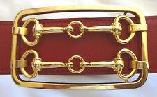 REAL VINTAGE Doppel Horsebit Gürtel Schnalle 9,8x5,8cm, 18k vergoldet, unisex