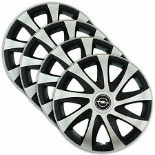 "Hub Caps 15"" OPEL Astra Vectra Corsa 4x Wheel Trim Cover SILVER+BLACK DRACO"