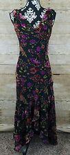 Joseph Ribkoff Couture Floral Velvet Dress Gown Cowl Neck Multicolor Formal Sz 4
