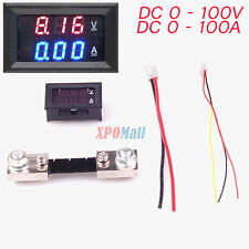 Digital Amp Volt Meter Voltmeter Ammeter Blue Red LED Current Shunt DC 100A 100V