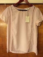 LC Lauren Conrad Runway Collection Pink Lace Trim Women's Blouse Top Size Small