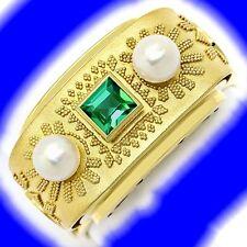 Goldring granuliert aus den 40er Jahren Perlen Turmalin S9499, JUWELENMARKT DE