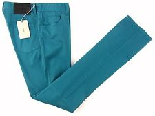 New BRIONI Meribel Handmade Teal Blue Slim Fit Cotton Jeans Pants 48 32 NWT $595