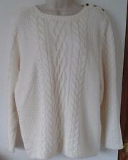 LADIES B.YOU CREAM SHOULDER BUTTON COTTON CABLE SWEATER JUMPER SIZE 16-18 BNWT