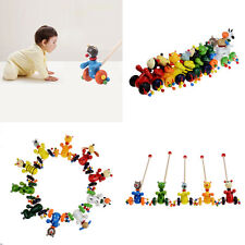 Cute Cartoon Baby Coagent Toddler Child Putting Animal Wooden Puzzle Trolley Toy