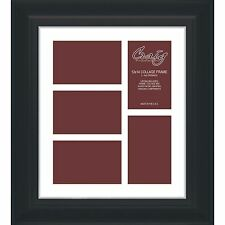 Craig Frames 12x14 Black Framed Collage Matt with 5 Openings for 4x6 Images
