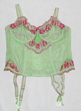 NEW CACIQUE LANE BRYANT GREEN PINK EMBROIDERED FLOWER CORSET BUSTIER BRA 14 16