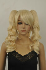"""HOT!women""""s light blonde short straight cosplay  Animation wig +two pigtail"""