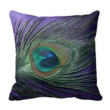 Silky Purple Peacock Feather Still Life Throw Pillow Case Decorative Cushions 18