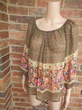 Anthropologie FEI Bohemian Blouse Sz XS 100% Silk Floral Top Chiffon 3/4 Sleeve