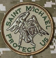SAINT MICHAEL PROTECT US ARMY MORALE BADGE DESERT PATCH VELCRO® BRAND FASTENER
