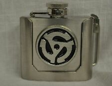 45 RPM VINYL RECORD ADAPTER FLASK BELT BUCKLE