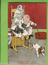 #G.   COMIC  POSTCARD -  BABY TRAINING DOGS & CAT