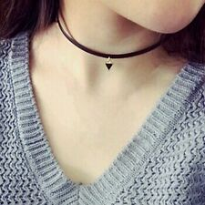 80's 90's Inspired Plain Black Leather Love Band Gothic Handmade Choker Necklace