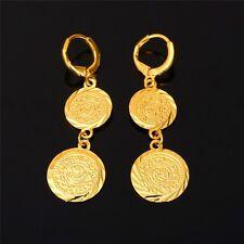 18k REAL placcato oro moneta antico Goccia Dangle Earrings