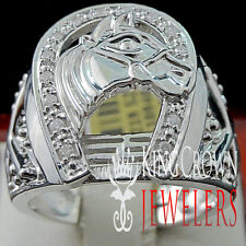 Real Diamond Mens Goodluck Horseshoe Lucky Pinky Ring Band 14K White Gold Finish