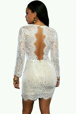 Celeb White Lace V Neck Plunge Mini Dress Towie Party Size 8-10 BNWT Boutique